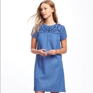 NWOT Chambray Embroidered Dress